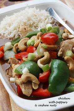 Chicken with Peppers & Cashew Nuts | Scrummy Lane - A quick and easy homemade version of the classic Chinese take-out meal.