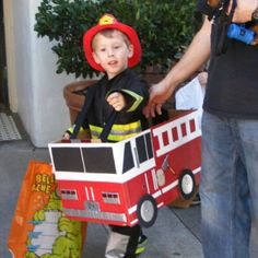 Hand made card board box fire truck costume. Under $10 to make!