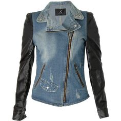 Rare London Denim PU Sleeve Studded Jacket (£15) ❤ liked on Polyvore featuring outerwear, jackets, blue jean jacket, studded sleeve jacket, sleeve jacket, denim jackets and studded denim jackets