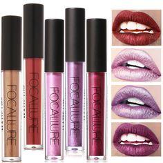 US $0.48 - 1.89 / piece   2017 New Metallic Lip Color Cosmetics Waterproof Lip Gloss Gold Shimmer Matte Liquid Metallic Lipstick Focallure Makeup