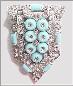 KTF - Early 1930s Rhodium Pavé Rhinestone & Pale Blue Do-Nut from joansjewelsandcollectibles on Ruby Lane