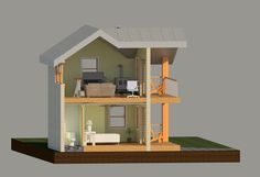 section great guesthouse ideas! Office upstairs and bedroom down stairs for the perfect outbuilding for your yard. Backyard Buildings, Green Garden, Stairs, Home And Garden, Kitchen Appliances, Design Ideas, 3d, Bedroom, Kitchen Tools