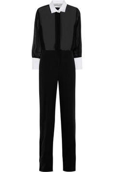 Valentino|Silk-chiffon and georgette jumpsuit|NET-A-PORTER.COM