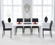 Another dining table possibility ~ Atlanta White High Gloss Dining Table with Atlanta Stackable Chairs ~ White Dining Table, Dining Set, Dining Room, Oak Furniture Superstore, Stackable Chairs, Calgary, High Gloss, Atlanta, New Homes