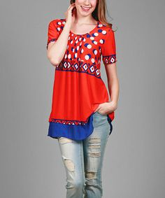 Loving this Orange & Blue Geo Scoop Neck Tunic - Plus on #zulily! #zulilyfinds