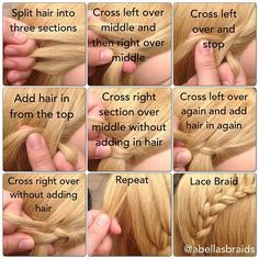 Lace Braid Tutorial love this! Cute Hairstyles Updos, Easy Hairstyles For Long Hair, Different Hairstyles, Nurse Hairstyles, Latest Hairstyles, Top Braid, Lace Braid, Middle Hair, Love Hair