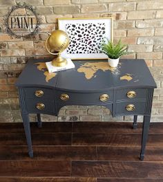 For Love of the Paint: Tutorial : Vintage Drexel Desk / Vanity with World Map Detail