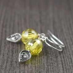 Sterling silver Yellow and Bali Floral design earrings