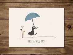#Postkarte mit #Gans Grete und ihrem Schirm beim Sonntagsspaziergang.