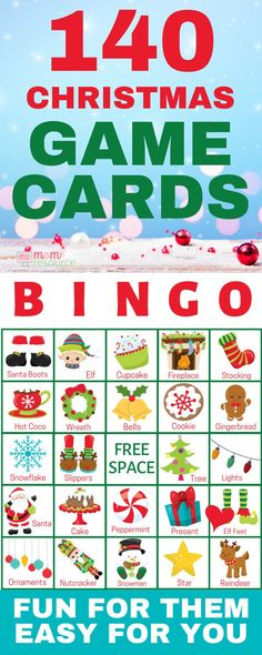 Christmas bingo printable game cards - Perfect printable bingo for large group! With words and pictures and instructions, these bingo cards are the perfect game for any Christmas party! School Christmas Party, Christmas Party Games, Preschool Christmas, Christmas Crafts For Kids, Christmas Art, Family Christmas, Holiday Fun, Christmas Holidays, Christmas Ideas