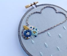 Love this little cloud design I doodled up the other day. I think I'll do a small series with different colored flowers. I used @weeksdyeworks overdyed floss for the cloud itself .  #handmade #handembroidery #hoopart #cloud #raincloud #floralembroidery #prettystitches #supporthandmade #etsyshop #embroideryhoop by cloudyday_stitcherin