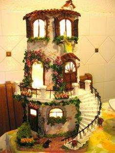 tegola illuminata con scalinata Clay Houses, Ceramic Houses, Miniature Houses, Miniature Dolls, Little Gardens, Fairy Garden Houses, Clay Tiles, Roof Tiles, House Doors