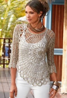 Todo crochet crochet lace beauty dress for girl – crafts ideas – crafts for kids The post Todo crochet appeared first on Daily Shares. Patrones Crochet: Jersey cok n Dibujo Central Patron Crochet lace beauty dress for girl - Chart. Crochet Blouse, Crochet Shawl, Knit Crochet, Crochet Tops, Crochet Sweaters, Knit Tops, Irish Crochet, Crochet Gratis, Crochet Mandala