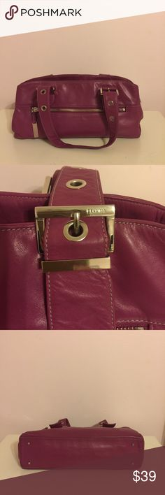 Perlina Plum color all leather handbag Perlina soft genuine  all leather handbag, in good condition a little wear on corners, all zippers function. Very roomy ..several compartments for organization. Add some color to your wardrobe today😍 Perlina Bags Shoulder Bags