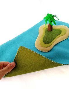 Jungle and Ocean Felt Play Mat Set for small world play image 7 Plastic Animals, Felt Animals, Felt Diy, Felt Crafts, Felt Play Mat, Felt House, Small World Play, Play Image, Malm