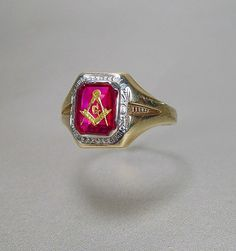 14K Gold Masonic Ring Ruby White Yellow Art Deco by sodear2myheart, $295.00