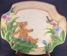 Boyds Bear Ceramic 2004 Platter Plate Flowers Home Collection Spring Basket East  | eBay