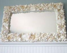 Beach Decor White Seashell Mirror - Nautical Shell Mirror,  White Rectangular w Starfish