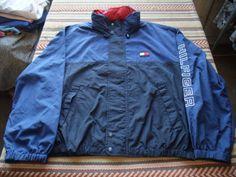 VTG 90s Tommy Hilfiger Nylon Zip Up Windbreaker Jacket Blue Double X-Large (L5) #TommyHilfiger