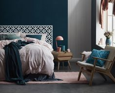 Luxury Rooms: Inspirations & Awesome Photos - Home Fashion Trend Teal Bedroom, Decor, Home, Bedroom Inspirations, Bedroom Makeover, Interior Design Bedroom, Bedroom Decor, New Room, Bedside Table Scandinavian Style