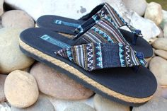 Vegan Sandals in Ethnic Hmong Embroidered Hemp on Etsy, $30.00