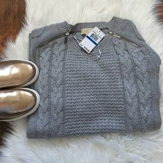 Michael kors zipper cable knit sweater Perfect heather gray cable knit sweater. Barely there store wear. Offers welcome through offer tab. No trades. 12111529 MICHAEL Michael Kors Sweaters