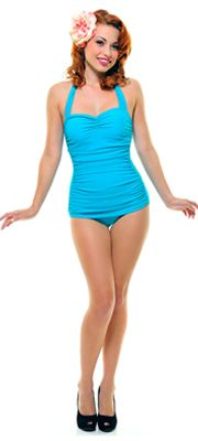 Vintage Inspired Swimsuit 50s Style Turquoise One-Piece. Canadian shipping available!