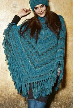 Free Knitting Pattern for Nordico Poncho - This easy fringed poncho from Lana Grossa features a mitered pattern formed by 2 decrease stitches in the center.