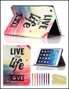Amazon.com: iPad Mini Case, iPad Mini / Mini 2 Retina/ Mini 3 Retina Case Cover, [2014 Release] Dteck® Fashion Vintage Design Flip PU Leather Smart Cute Stand Case, Automatic Wake/ Sleep Function Full Body Protective Case Cover for Apple iPad Mini 3 [Compatible with iPad Mini 3 with Retina Display (7.9 Inch Tablet)] with Long Random Color Touch Screen Stylus [Kid's Gift/ Christmas Gift] (#08 Live the Life you Love): Cell Phones & Accessories