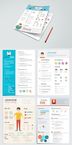 Simple Flat Resume With Infographics Template AI, EPS