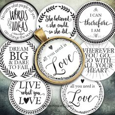 "Instant Download of Favorite Quotes 1"" Circle Bottle Cap and Pendant D – Annie Howes"
