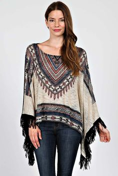 Aztec Fringed Poncho Top - buy it now at kyootklothing.com
