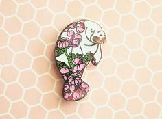 Manatee Floral Enamel Pin by natelledrawstuff