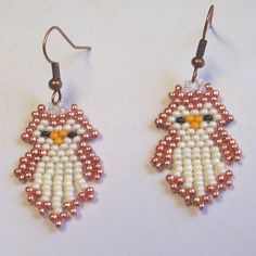 Baby Owls Hand Beaded Native American Style Earrings by Barbswish