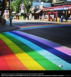 Rainbow-coloured crosswalk.  Davie Street Village, Vancouver.