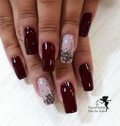 Ideas for nails dark pink art designs Gorgeous Nails, Love Nails, Fun Nails, Bride Nails, Trendy Nail Art, Dark Nails, Creative Nails, Swag Nails, Nail Colors
