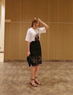 Dress up your casual shirt with a lace midi for a look that's FTW!