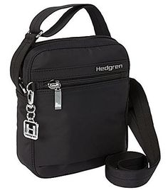 Hedgren Rush Slim Profile 6 x 2.4 x 8 Inches Womens 3 Zip Pocket Crossbody Bag Black