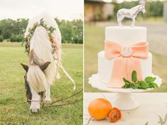 A unique, equestrian themed wedding, complete with a horse on the wedding cake.