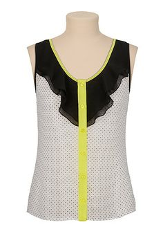 Neon Trim dot print chiffon sleeveless top (original price, $26) available at #Maurices
