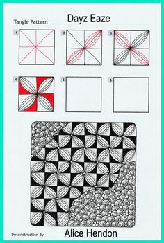 Zen Doodle Patterns, Mandala Pattern, Zentangle Patterns, Tangle Doodle, Tangle Art, Doodle Art, Zentangle Drawings, Doodles Zentangles, Mandala Drawing