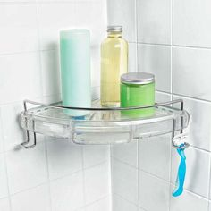 This Good Grips Press-Sure Corner Caddy by Oxo lives up to its name by using tension and friction, with steel linkages squishing thick gel pads into the two walls of any corner. | Photo: Courtesy of Oxo | thisoldhouse.com