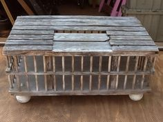 Repurposed chicken coop / cage into coffee table