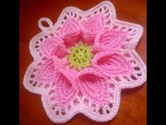 Tutorial flor puritan crochet. Flor grande de ganchillo. Parte 2 de 2. - YouTube