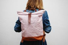 Canvas Backpack,  soft pink color, hand waxed , with handles, leather base and  closures