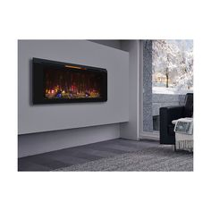 """Hang on the wall or insert, the ClassicFlame Helen 48"""" Electric Fireplace is versatile!  From the most reliable manufacturer of electric fireplaces and at a terrific price!  Order from ADDCO today! (800) 555-0564 Contemporary Electric Fireplace, Built In Electric Fireplace, Electric Fireplaces, Building, Room, Home Decor, Bedroom, Decoration Home, Room Decor"""