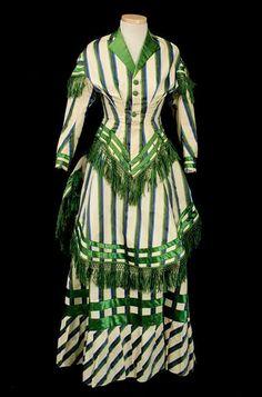Striped wool dress, c. 1885.