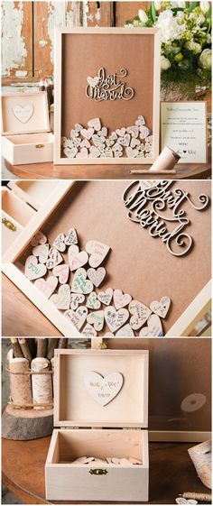 Just Married <3 alternative wooden wedding guest book frame idea - impress your guests #rustic