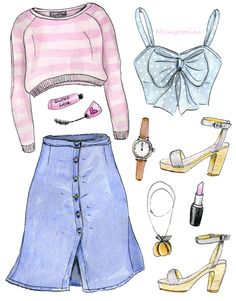2015 Cinderella by Cindy Mangomini web Fashion Design Drawings, Fashion Sketches, Fashion Illustrations, Fashion Art, Fashion Outfits, Clothing Sketches, Watercolor Fashion, Cute Comfy Outfits, Drawing Clothes