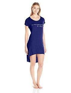 Steve Madden Womens You Dont Need Dream HighLow Sleep Shirt Navy Small --    61e90a70a